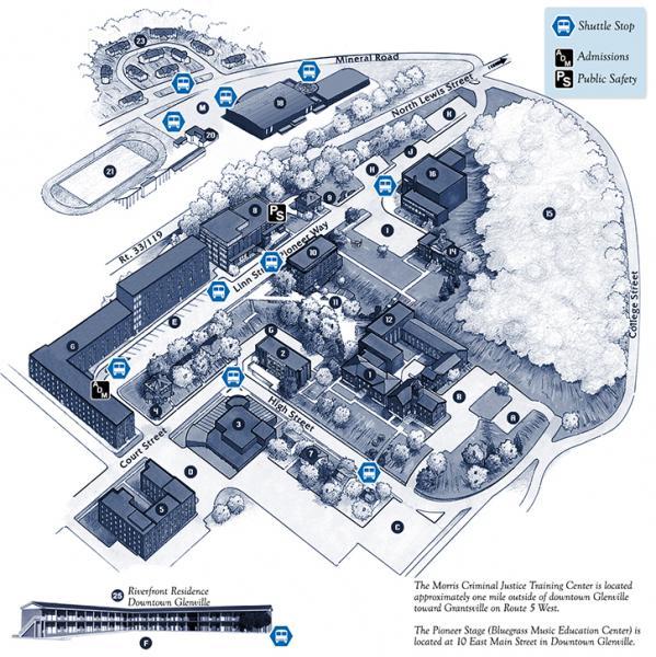 bennett college campus map Campus Map Glenville State College bennett college campus map