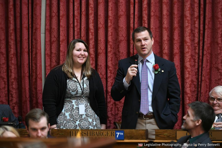 GSC junior Haley Biller (left) is recognized by Delegate Jason Harshbarger (R-Ritchie, 07) | Photo by Perry Bennett