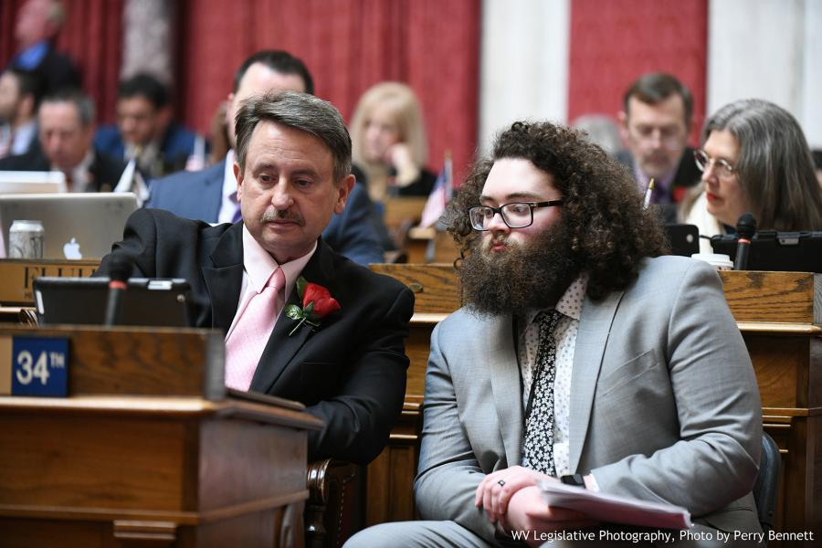 "GSC sophomore Joshua ""Logan"" Rexroad (right) with Delegate Brent Boggs (D-Braxton, 34) in the WV House Chamber 