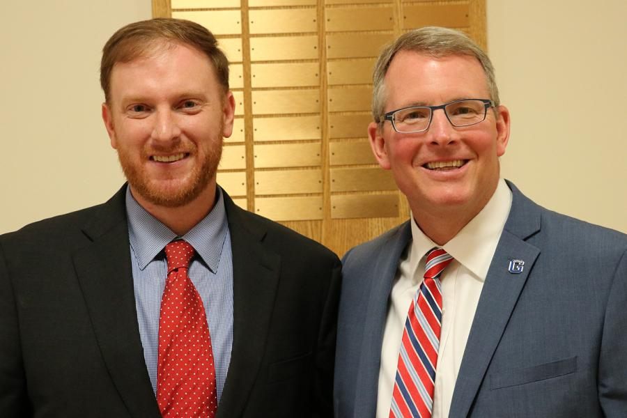 WV Auditor J.B. McCuskey with Dr. Pellett during a campus visit