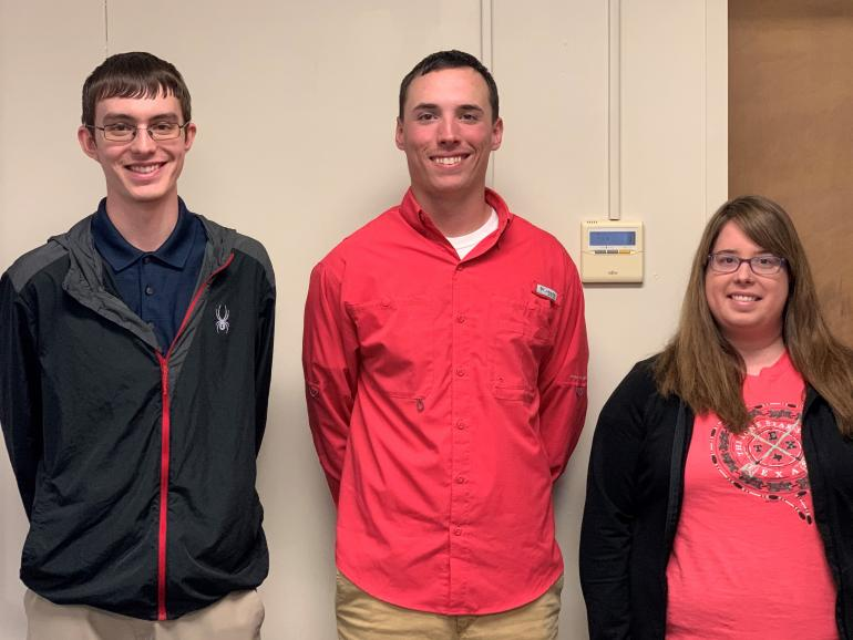 Glenville State College Accounting majors (l-r) Evan Merical, Zachary Lively, and Daisy Dean