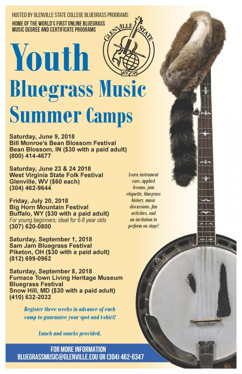 Youth Bluegrass Music Summer Camps 2018