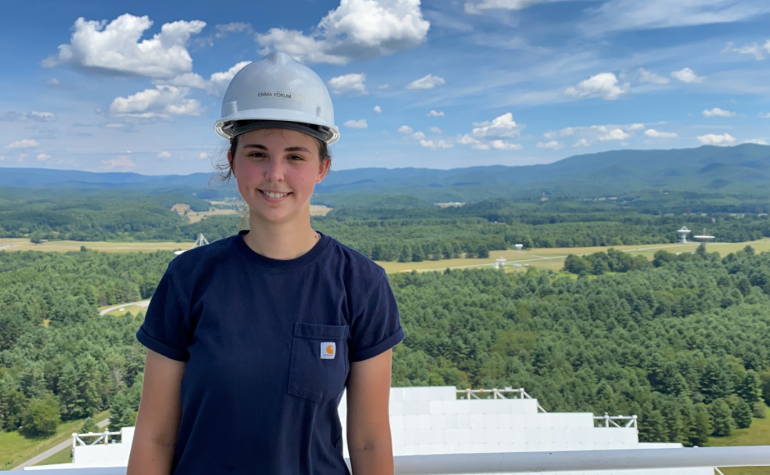 Glenville State College graduate Emma Yokum on the job as Safety Officer at the Green Bank Observatory, pictured here 450 feet up on the receiver deck of the Green Bank Telescope | Photo Courtesy of NSF, Green Bank Observatory