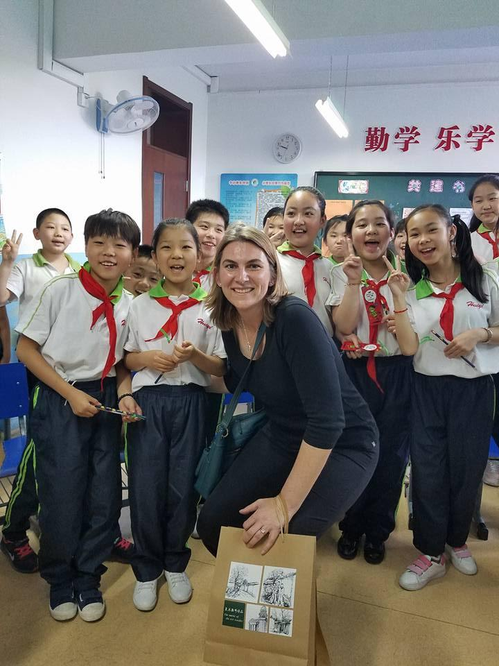 Dr. Megan Gibbons with students from Huidi 1st Primary School