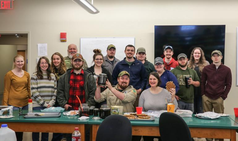 Forest Recreation and Wildlife Management students with their finished maple syrup