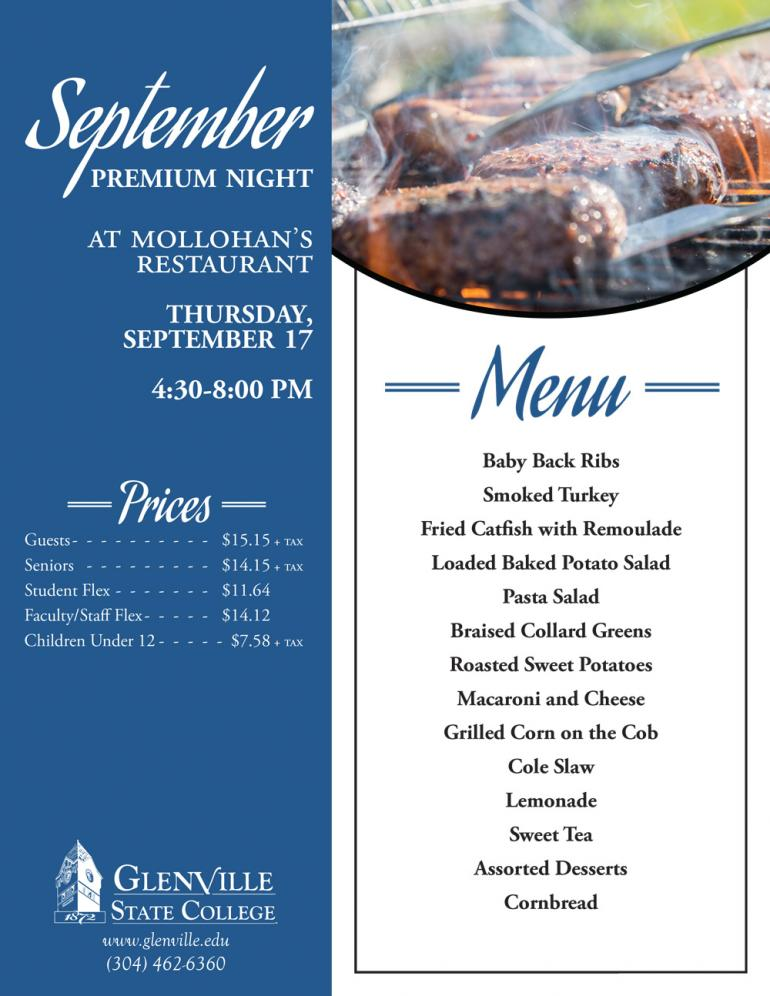 The next Premium Night at Mollohan's Restaurant will take place Thursday, September 17