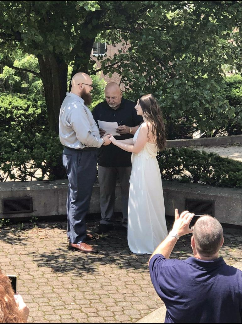 Simeon Kees and Sydnee Vance at their wedding ceremony on GSC's campus