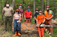 WVDOF employees Jesse King (far left) and Johnny King (far right) are joined by GSC students (l-r) Katlyne Rollyson, Dylan Fitzgerald, Jonathan Myles Hutton, Lexi Fletcher, and Heather Moore after the timber felling and chainsaw safety workshop