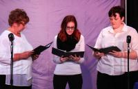 (l-r) Dr. Kathleen Nelson, Brittany Benson, and Dr. Kaitlin Ensor participate in the Reader's Theater performance of A Christmas Carol