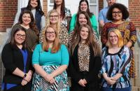 Spring 2020 Teacher Interns (l-r) Front Row: Faith Woods, Autumn Knight, Taylor Cool, Dorothy Davis; Middle Row: Aimee Asbury, Bethany Spelock, Rachel Flanigan, Sarah Brunty; Back Row: Brooke Spencer, Kelly Bruce, Miranda Allen, Clayton Lagasse
