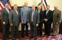 (l-r) Delegate Roger Hanshaw, Senator Mike Romano, Governor's Legislative Director Bob Ashley, GSC President Dr. Tracy Pellett, WV HEPC Chancellor Dr. Paul Hill, Delegate Brent Boggs, and Senator Doug Facemire