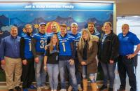 Glenville State College students and staff who visited WVU Medicine Children's in Morgantown, West Virginia (l-r) Tom Ratliff, Justin Watts, Austin Ratliff, Jordan Hartman, Kayla Letart, Caleb Wynn, Drew Taylor, Larissa Hayman, Amede Vital, Megan Wilfong, and Jesse Skiles