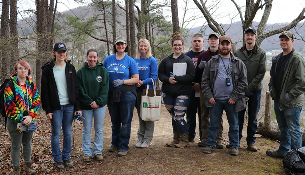 Environmental Science students on the campus Nature Trail