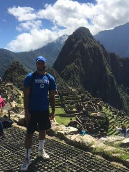 GSC Student with Machu Picchu behind him